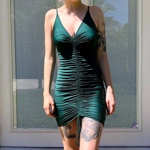 Forrest green body con dress